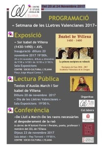 PROGRAMACIÓ Setmana Lletres Valencianes 2017